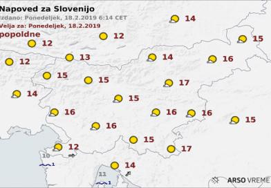 Vremenska napoved za Slovenijo, 18.2.2018